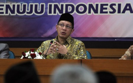 Menteri Agama RI, Lukman Hakim Saifuddin saat menjawab sejumlah pertanyaan pada pengajian ramadan di Universitas Muhammadiyah Yogyakarta,